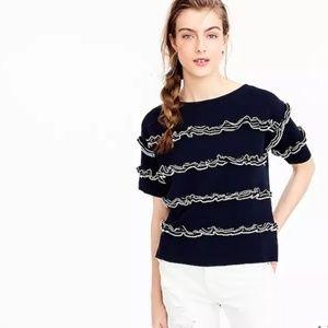 J. Crew navy ruffle boatneck sweater size XXS